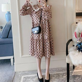 Balloon-sleeve Dotted Midi A-line Dress