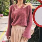 Cutout V-neck Furry Sweater