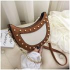 Studded Faux Leather Saddle Bag