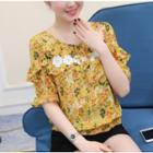 Printed Frilled Elbow-sleeve Chiffon Top