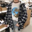 Detachable Hood Plaid Shirt