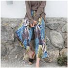 Band-waist Printed Pants