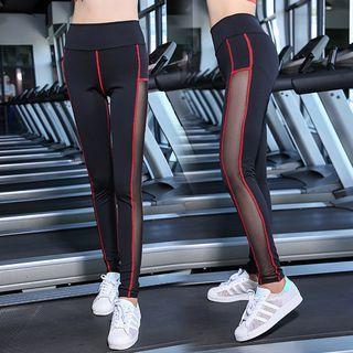 Contrast Trim Mesh Insert Yoga Pants