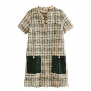 Short-sleeve Ripped Trim Tweed A-line Dress