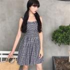 Plaid Sleeveless Shirred Waist Dress