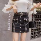 Studded Mini Denim Skirt