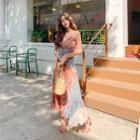 Color-block Floral Maxi Pinafore Dress Orange - One Size