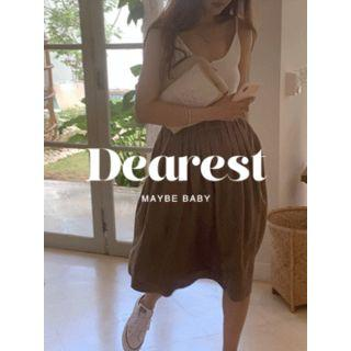 Band-waist Linen Blend Skirt One Size