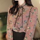 Beribboned Glen-plaid Floral Blouse