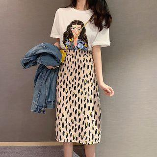 Leopard Print Midi Straight-fit Skirt