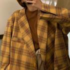 Color-block Plaid Long-sleeve Blazer Yellow - One Size