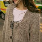 Buttoned Distressed Chunky-knit Cardigan