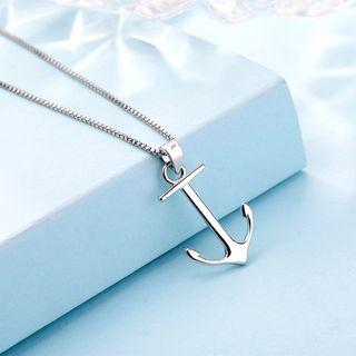 925 Sterling Silver Anchor Pendant Necklace Without Necklace - Pendant - One Size