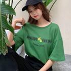 Elbow-sleeve Avocado Print T-shirt