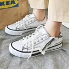 Contrast Trim Lace-up Canvas Sneakers