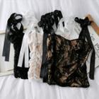 Ribbon-strap Cropped Lace Top