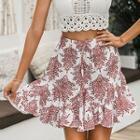 Ruffled Hem Printed Mini Skirt