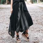 Plaid Panel Cropped Harem Pants Black - One Size