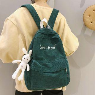 Rabbit Charm Lettering Corduroy Backpack