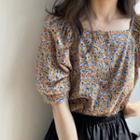 Puff-sleeve Floral Print Buttoned Chiffon Top