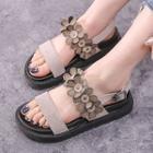 Genuine Leather Floral Strap Platform Sandals