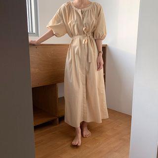 Tie-waist Puff-sleeve Midi Shift Dress