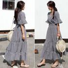 Plaid Elbow-sleeve Maxi A-line Dress