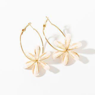 Flower Hoop Earring 1 Pair - Gold - One Size