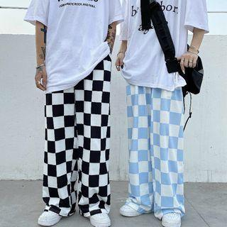 Checkerboard Wide-leg Pants