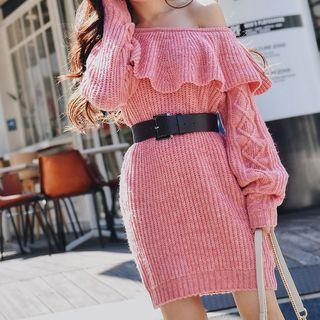 Ruffle Trim Knit Sheath Dress