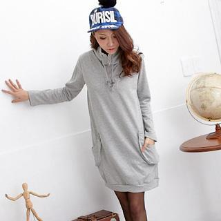 Drawstring Long-sleeve Pullover Dress