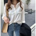 Long-sleeve Chiffon Plain Shirt
