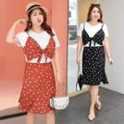 Short-sleeve Mock Two-piece Dotted A-line Dress