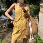 Lattice Buttoned Sleeveless Dress