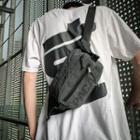 Lettering Nylon Zip Sling Bag