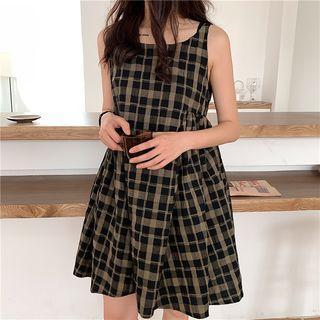 Plaid Sleeveless High-waist A-line Dress Plaid - One Size