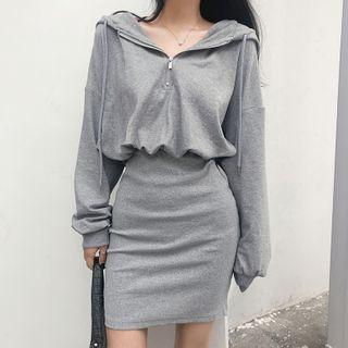 Mock Two-piece Plain Hooded Sweatshirt Panel Skirt