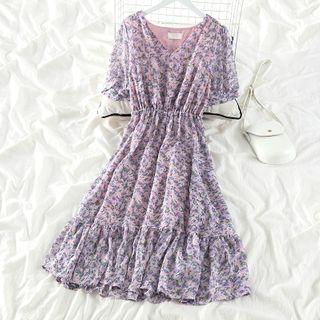 Floral Short-sleeve Dress Purple - One Size