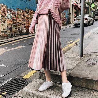 Midi Velvet Accordion Pleated Skirt