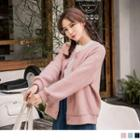 Embossed Buttoned Cardigan