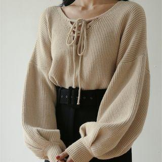 Puff Sleeve Knit Top Light Khaki - One Size