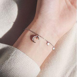 Moon Star Bracelet Silver - One Size