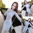 Set: Lace Long-sleeve Top + Pencil Skirt