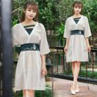 Embroidered 3/4 Sleeve Traditional Chinese Dress