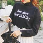 Mock-neck Lettering Embroidered Sweater