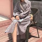 Pinstriped Midi Shirt Dress