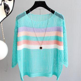3/4-sleeve Striped Paneled Perforated Knit Top