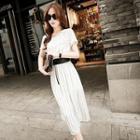 Short-sleeve Striped Midi Dress