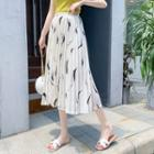Print Accordion Pleat Midi Chiffon Skirt