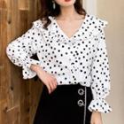 Dotted Frill-trim Shirt